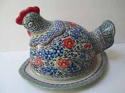 UNIKAT COVERED CHICKEN PLATTER SERVER ARTIST SIGNED POLISH POTTERY BEAUTIFUL