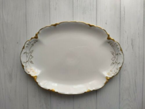 Warwick Chateau China Platter White Gold Trim Accents Scalloped Edges Vintage