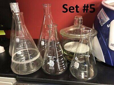 Lab Glassware Set Gelman Pyrex Kimax Erlenmeyerfilter Volumetric Flasks