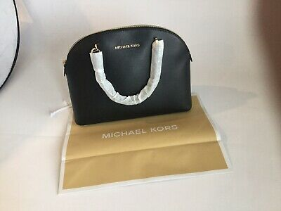 NEW GENUINE MICHAEL KORS EMMY BLACK LEATHER DOME SATCHEL BAG