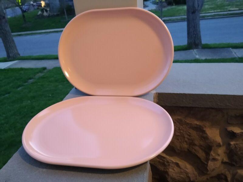 SET OF 2 ... VINTAGE XLarge Pink  ...Rubbermaid platters #3856