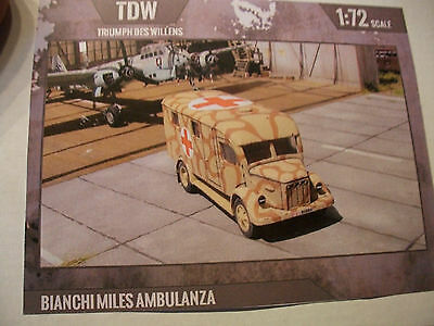 1/72 rare TDW Triumph des Willens Resin Kit BIANCHI MILES AMBULANZA top in OVP!