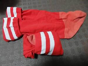 Two pair Red and white football socks for 5y.o Woonona Wollongong Area Preview