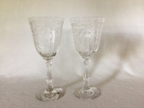 2 Fostoria Navarre Crystal Tall Water Goblets