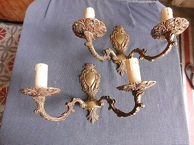 Pair of'appliques metal golden style Louis XV electrified