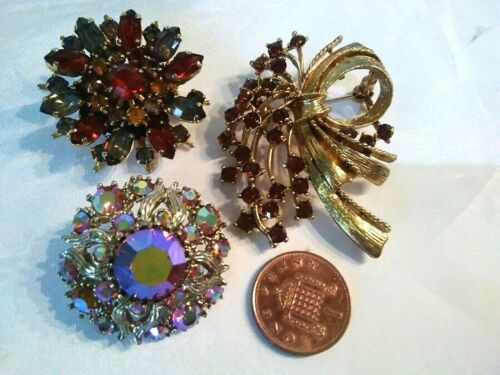 lot of 3 Vintage 1950s BROOCHES all stone set AUTUMN GLAMOUR, All Excellent