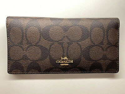 NWT Coach Women Bifold Slim Wallet Signature PVC Leather Brown Retail $98