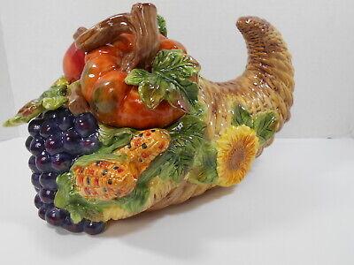 Kaldun & Bogle Cookie Jar Ceramic Cornucopia Pumpkin Handpainted Weave AS IS