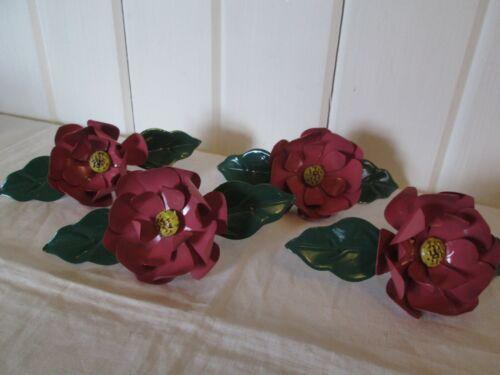 Vintage Rose Color  Enamel Metal Flower Napkin Rings Set of 4