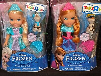 Lot of 2 Disney, Frozen, Anna & Elsa with Olaf petite dolls, TOYS R US Exclusive
