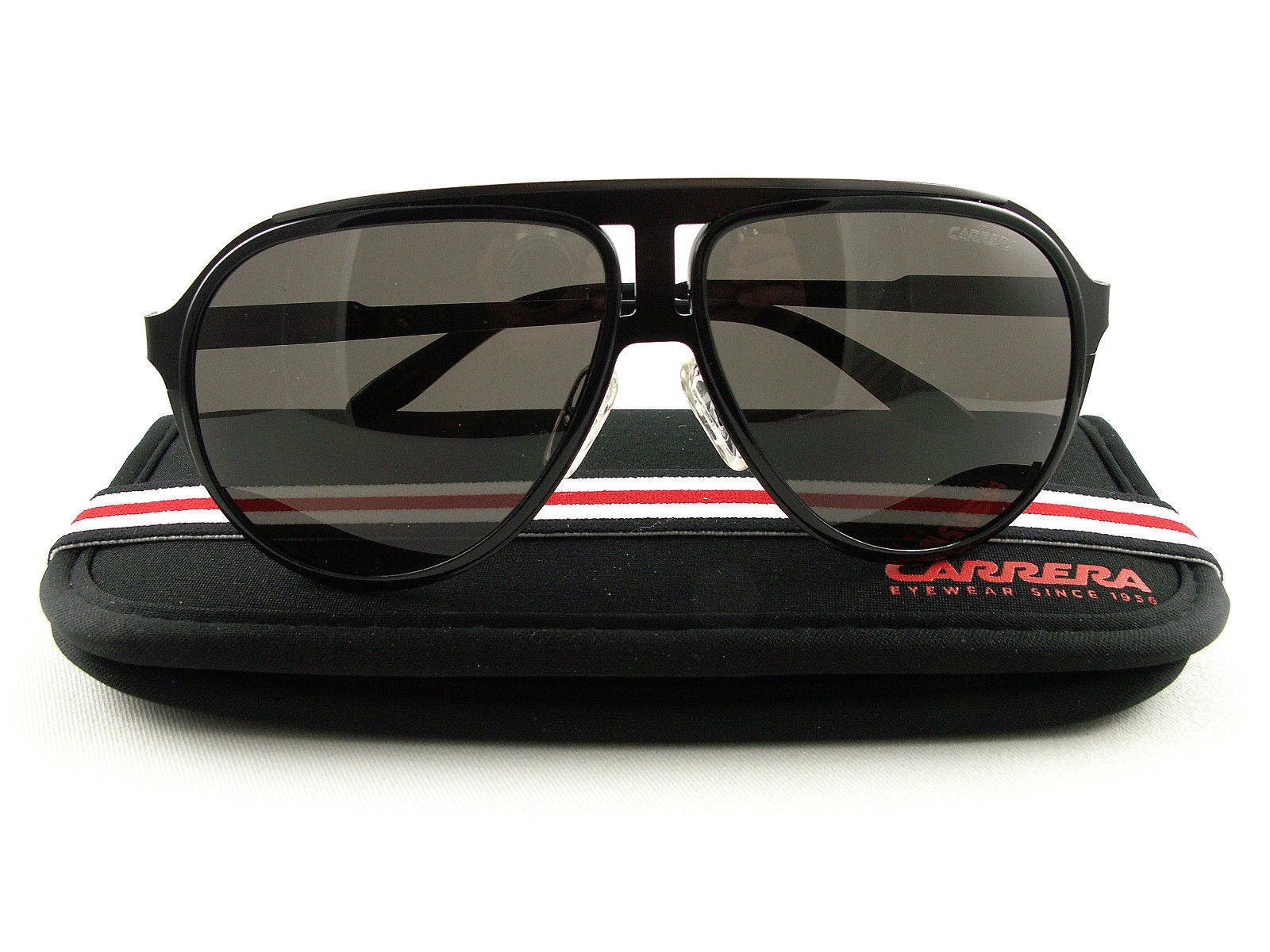 Carrera Men's Black Ruthenium Pilot Sunglasses w/ Grey Frame Lens 100S 0HKQ (NR)