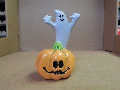 """Vintage Hand Painted Ceramic 4.5"""" Ghost on Jack-O-Lantern Figure Halloween"""