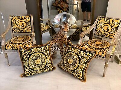 "Pair Of2-large Custom Made Versace Baroque Cousins 28""28""  Upholstery Velvet"