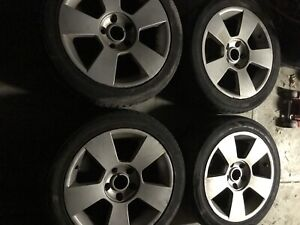 """17"""" wheels 5x120pcd with good tyres!"""