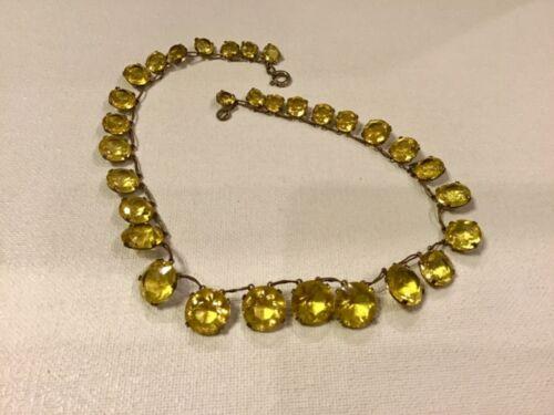 Vintage Antique Bohemian Czech Riviere Style Glass Open Back Necklace