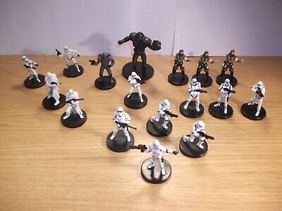 Star Wars Miniatures - Imperial Army Lot - 17 Figures + Cards