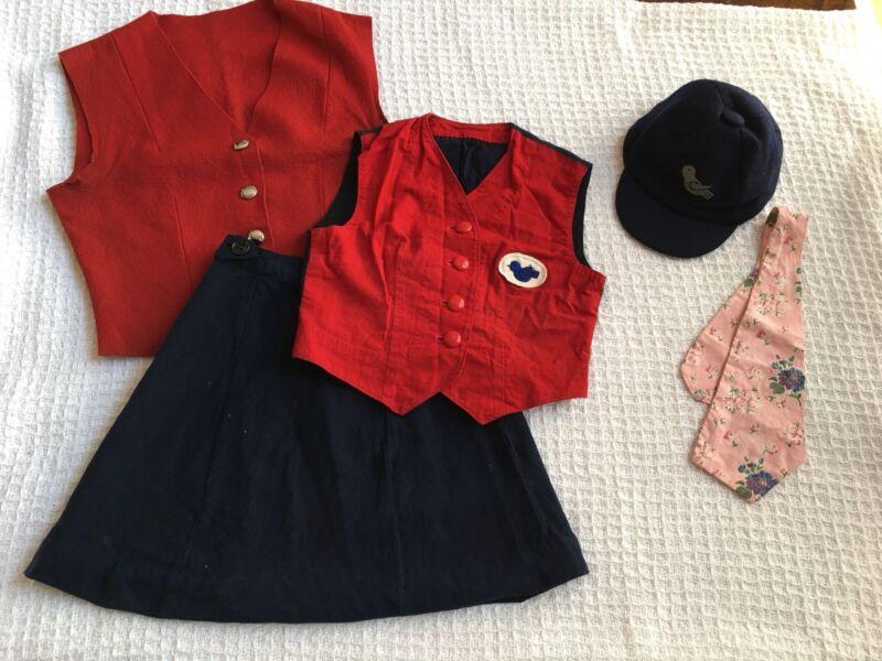 Vintage Campfire Girls Bluebird Uniform Two Vests Skirt Hat Scarf