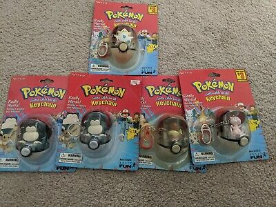 Lot of 5 Vintage POKEMON Keychain with Pokeball/ Sealed/4 Characters