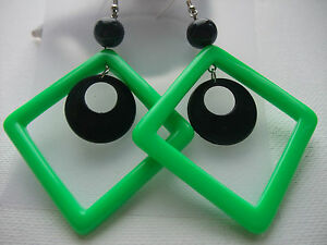 FUNKY-RETRO-60s70s-GREEN-BLACK-DISC-DIAMOND-EARRINGS