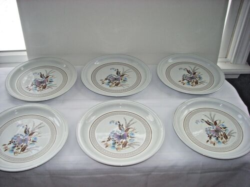 """6 Denby Lorraine 9"""" Plate Dishes Salad Luncheon Butterfly 1975 England Tabletop"""