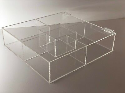 Acrylic Square Counter Top Display Case Sectional Box 18 X 18x 4 Acrylic Tray