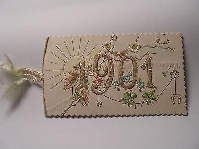 Alte Karte um 1901 Herzlichen Glückwunsch zum neuen Jahre