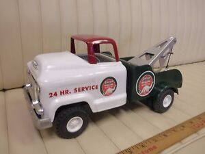 1956-BUDDY-L-GMC-SINCLAIR-OIL-Auto-Wrecker-Tow-Truck-Pressed-Steel-Toy