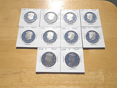1980 81 1983 1984 1985 1986 1987 1988 1989 S PROOF KENNEDY HALF 10 COIN SET LOT