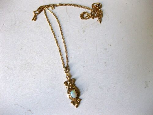 """ANTIQUE VICTORIAN 14K YELLOW GOLD CHARM with NATURAL OPAL & 18"""" ORIGINAL CHAIN"""