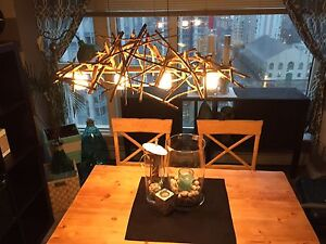 Hanging wood chandelier