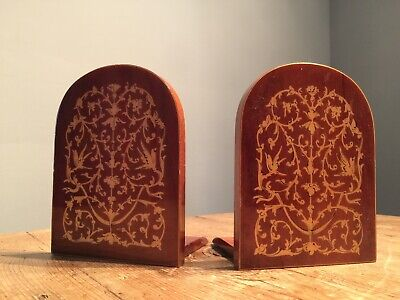 VINTAGE MID 20th c LIGHTWEIGHT SMALL INLAID FOLD UP  BOOKENDS 3 1/2
