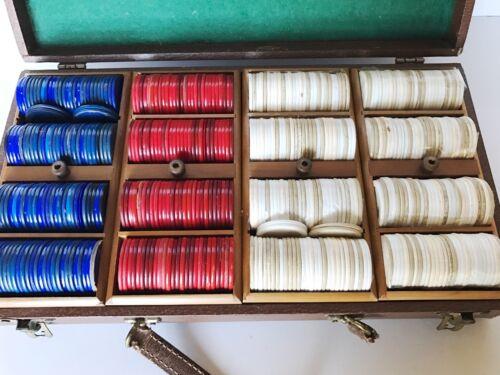 Vintage LOWE Poker Chips Set with Case