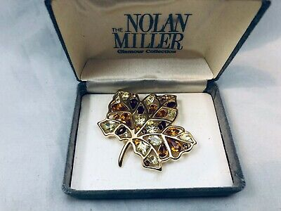 NIB NOLAN MILLER SHADES OF BROWN TOPAZ & CLEAR RHINESTONE MAPLE LEAF BROOCH Maple Leaf Brooch