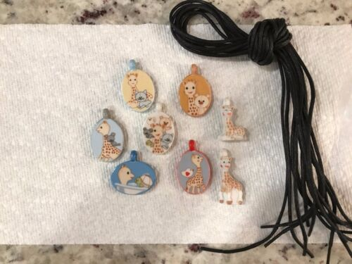 French Porcelain Feves Sophie the Giraffe x 8 Necklaces