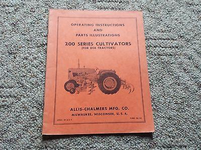 Original Allis Chalmers Operating Manualparts 200 Series Cultivators Tm-145