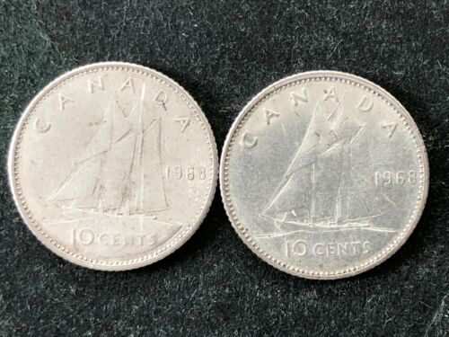 Two 1968 Canada Silver 10 cent Dime coins