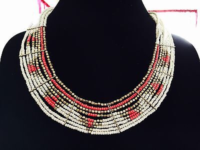 Braided Tribal Pattern Collar Necklace Orange White & Gold Seed Beads in  (Pattern White Gold Necklace)
