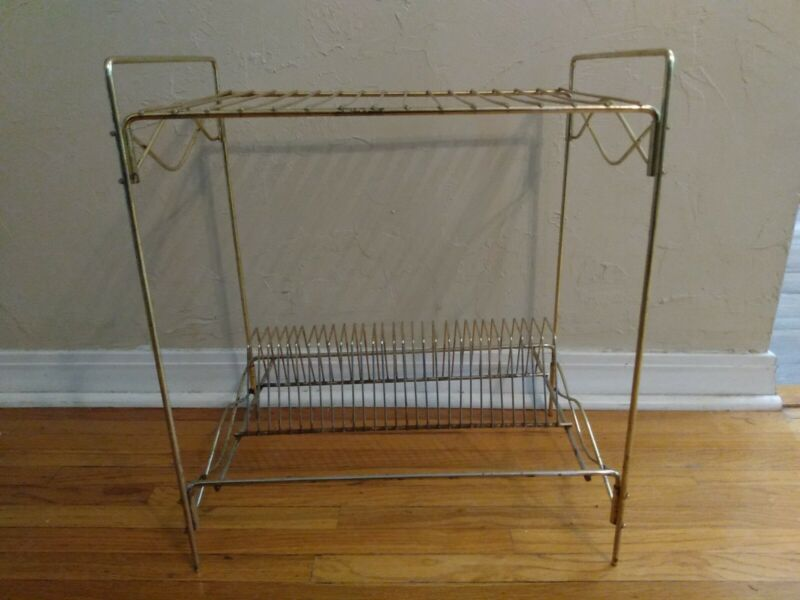 Vintage Mid Century Modern Metal Record Player Stand with LP Holder Rack Stand