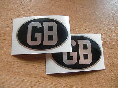 2x GB sticker - 75mm x 50mm - black & chrome decal (small)