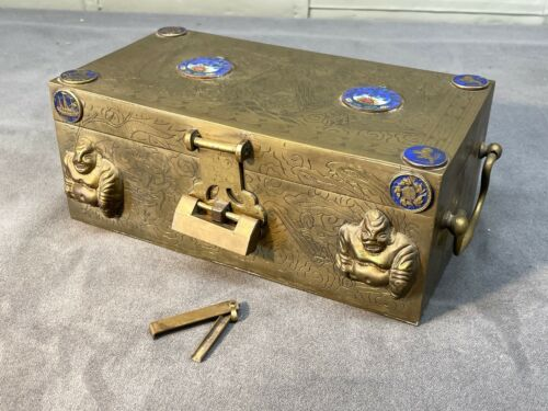Vintage Chinese, Wood-Lined Brass Box w Enameled Medallions & Working Brass Lock
