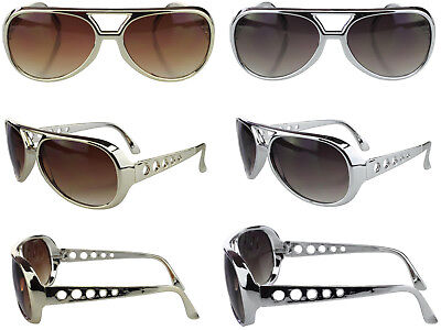 Elvis Glasses Vintage Style Gold Silver Aviator Sunglasses Retro Costume 70's - Gold Elvis Costume