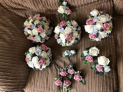 Wedding Posy Bouquet Package Lavender & White Roses Pink And Light Blue - Lavender And White Wedding