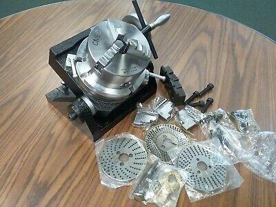 6 Tilting Rotary Table Heavy Duty W. 5 Chuck Dividing Plates Tsk-150- New