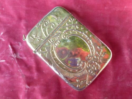 VINTAGE EXAGGERATED LARGE STERLING SILVER CARD CASE 2.8 TROY OZ