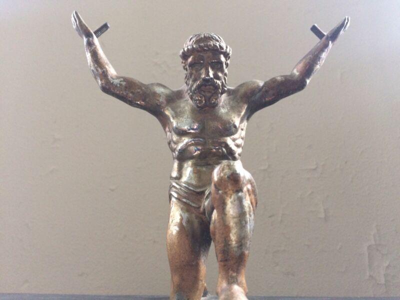 Antique Atlas God Metal Sculpture On Wooden Base
