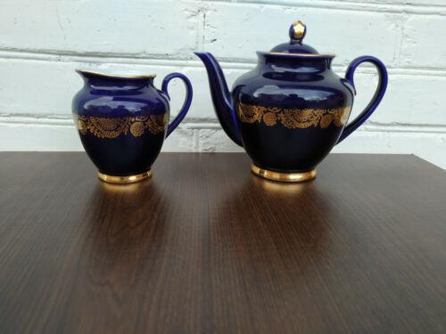 Porcelain Set Lomonosov LFZ Teapot & Creamer Cobalt Blue Golden