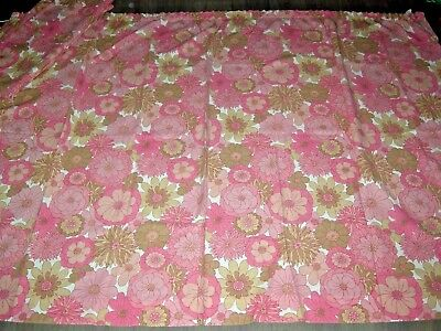 Vintage 60s 70s pink flower power wide pair unlined curtains L 54