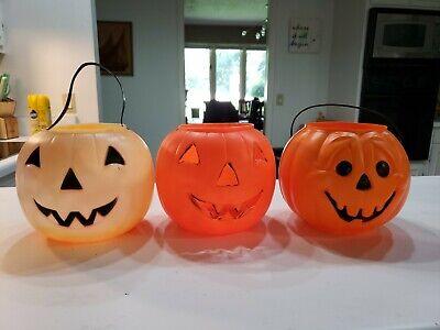 3 vintage General Foam empire Pumpkin Trick Or Treat Bucket Pail