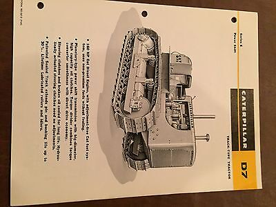 Cat Caterpillar D7 Tractor Dozer Crawler Brochure Original Antique