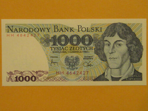 Poland P146c, 1000 Zlotych, Copernicus / Heliocentric planetary system 1982 UNC